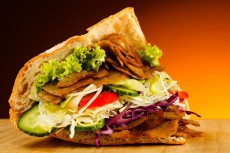 18293011 - kebab - grilled meat, bread and vegetables